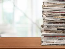 Newspaper. Stack Print Media Heap Vertical Close-up White Background Royalty Free Stock Image