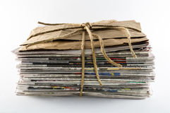 Newspaper Stack Tied With Twine Stock Photo