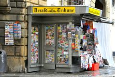 Newspaper stand in Italy. Newspaper stand in Florence, Italy. Harald Tribune newspaper kiosk royalty free stock image