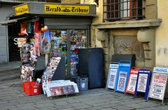 Newspaper stand in Italy. Newspaper stand in Florence, Italy. Harald Tribune newspaper kiosk stock photo
