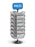 Newspaper stand. Metallic newspaper stand on white background - 3D illustration Stock Photos