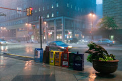Newspaper stands during rain storm in downtown Philadelphia, Pennsylvania Royalty Free Stock Photos