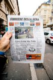 Newspaper about Stephen Hawking Death on the first page portrait. PARIS, FRANCE - MAR 15, 2018: Italian Corriere della Sera newspaper with portrait of Stephen Royalty Free Stock Image