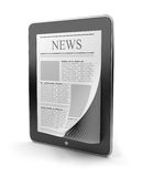 Newspaper on tablet pc. Mobile device 3D Stock Photo