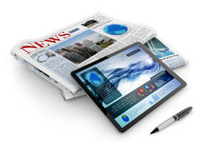 Daily newspaper, tablet and pen. On white background Royalty Free Stock Photos