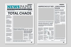 Newspaper template. Column articles on newsprint background. Pressed paper newspaper sheets with headline. Vector. Newspaper template. Column articles newsprint stock illustration