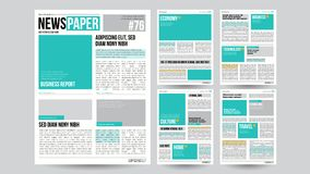 Newspaper Template Vector. Financial Articles, Business Information. Opening Editable Headlines Text Articles. Realistic Stock Photos