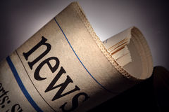 Newspaper title. On black background Stock Images