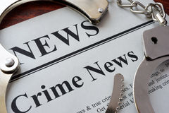 Newspaper with title crime news. Stock Photography