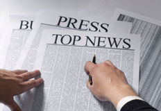 Newspaper top news. Press top news. newspaper concept Stock Images