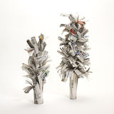 Newspaper trees : concept of deforestation Royalty Free Stock Photo