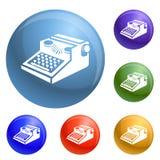 Newspaper typewriter icons set vector vector illustration