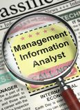 We`re Hiring Management Information Analyst. 3D. Newspaper with Vacancy Management Information Analyst. Column in the Newspaper with the Small Advertising of stock photo