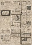 Newspaper vertical  background. Vintage newspaper texture. A newspaper vertical  background illustration with advertisements from a vintage old Russian newspaper Royalty Free Stock Photos