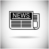 Newspaper Web Icon News Paper Black Royalty Free Stock Image