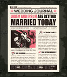 Newspaper Wedding Invitation Design Template. Newspaper Style Wedding Invitation Vector Design Template Stock Photography