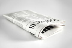 Newspaper with white background. Newspaper folded with white background stock photography