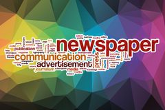 Newspaper word cloud with abstract background Stock Image