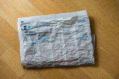 Newspaper with wrinkles Stock Images