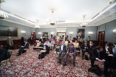 Newspapermans sit on Enlarged meeting of Council Royalty Free Stock Image