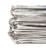 Newspapers 1. Stack of newspapers on a white background stock images