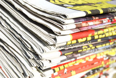 Newspapers. Pile of different recycled newspapers Royalty Free Stock Photo