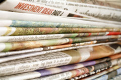 Newspapers. A stack of newspapers Stock Images