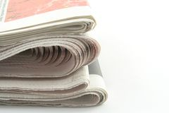 Newspapers. Daily newspapers on a white background Royalty Free Stock Images