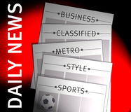Newspapers. An image of a newspapers showing news sections for business,classified,metro,style and sports with an illustration of a football Royalty Free Stock Photos