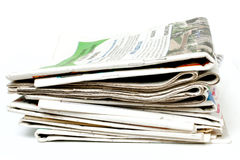 Newspapers. Isolated on white background Royalty Free Stock Photography