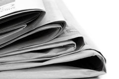Newspapers. Stack of newspapers, in close-up.  Lots of copyspace Royalty Free Stock Photo