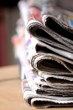 Newspapers. Photograph of stacked newspapers on a table Stock Photography