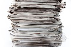 Newspapers. Closeup of stack of newspapers Stock Images