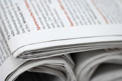 Newspapers. German daily newspapers stacked on top of one another Royalty Free Stock Photography