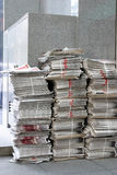 Newspapers. Stocks of newspapers at newsstand Royalty Free Stock Images