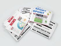 Newspapers. Newspaper with different thematic on white background - digital artwork Royalty Free Stock Photography