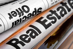 Newspapers. The big stack of old business newspapers Royalty Free Stock Images