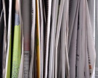 Newspapers. Stack of newspapers very closeup Stock Images