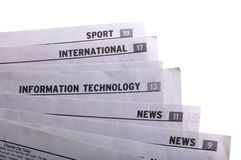 Newspapers. Stack of newspapers titles on white Stock Photo
