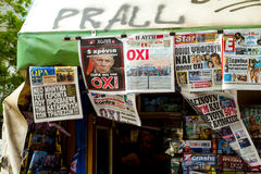Newspapers in Athens Greece Stock Images