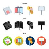 Newspapers, a bus stop, a mail box, a billboard.Advertising,set collection icons in cartoon,black,flat style vector Royalty Free Stock Image