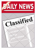 Newspapers classified. An image of a newspaper stand with classified news insert Stock Photography
