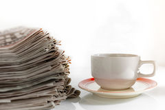 Newspapers and Coffee Stock Photography