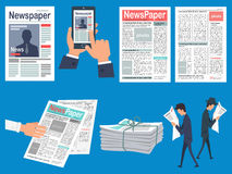 Newspapers Headlines Flat Vector Concepts Set Royalty Free Stock Photo
