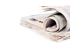 Newspapers isolated on white background Stock Images