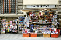 Newspapers old shop in Italy Royalty Free Stock Photos