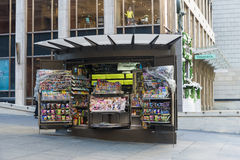 Newspapers and Magazine stand. Newspapers and Magazines stand in Martin Place Sydney close to the Tiffany shop Stock Photos