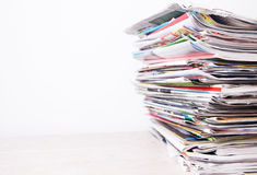 Newspapers. And magazines on white background Royalty Free Stock Image