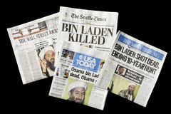 Newspapers, Osama bin Laden Dead, editorial. SEATTLE, WA - MAY 02: The Seattle Times and other U.S. newspapers report the death of Osama bin Laden on May 02
