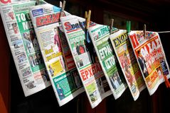 International sports newspapers display in Greece Royalty Free Stock Image